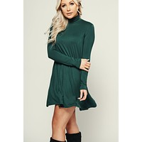 Don't Mock Me Turtle Neck Dress (Hunter Green)