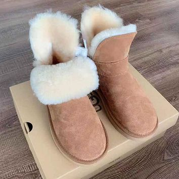 Wearwinds UGG hot seller of pure color and fleece snow boots, fashionable casual women's ground boots