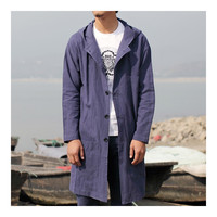 Middle Long Hoodied Wind Coat Man Single-breasted   blue purple   M