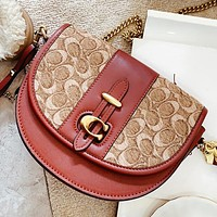 COACH New fashion pattern leather shoulder bag crossbody bag saddle bag