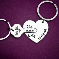 Her One, His Only - The Original - Hand Stamped Key to My Heart Keychain Set - Couple Key Chain Gift - Wedding, Anniversary, Birthday Presen