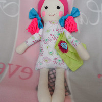 cloth doll, rag dolls stuffed toys for girls, fabric doll birthday gift for a little girl, to play the first soft  doll