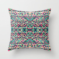 Pink Turquoise Girly Aztec Andes Tribal Pattern Throw Pillow by Railton Road | Society6