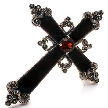Black Onyx Cross Pendant Brooch 925