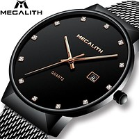 MEGALITH Mens Watches Top Brand Luxury Waterproof Quartz Wristwatches Simple Design Analogue Stainless Steel Mesh Watch For Men