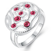 Rose Nobel Fashion Zircon Diamond Silver Stone Ring