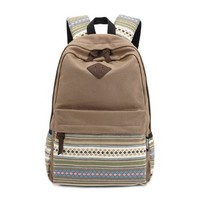 Stripe Canvas School Backpack College Campus Bag Rucksack Satchel Travel Sports Outdoor Travel Gym Bag Schoolbag for Teens Girls Boys Students (Brown)