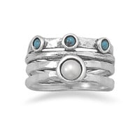 Oxidized Cultured Freshwater Pearl and Turquoise Ring