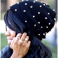 COOL Studded Gold Spikes Fashion Beanie