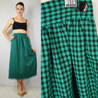 90s Gingham Skirt Teal Black Soft Grunge Gypsy Witch SMALL Vintage Womens Clothing Long Skirt Checkered Fringe Frayed 1990s Tumblr Babe