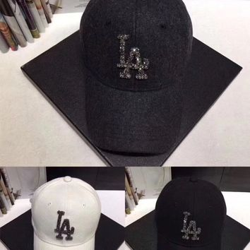 """Los Angeles Dodgers"" Women Casual Fashion Diamond Letter Logo Baseball Cap Flat Cap Sun Hat"