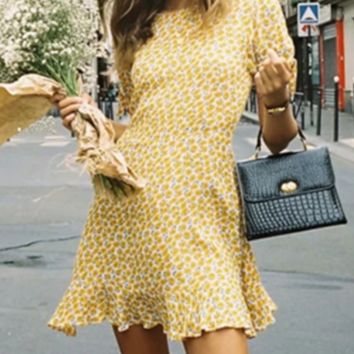 Women's summer new romantic sunflower print dress