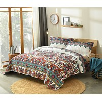 DaDa Bedding Bohemian Earthy Meadow Floral Botanical Quilted Bedspread Set - Twin Size (160553-9)