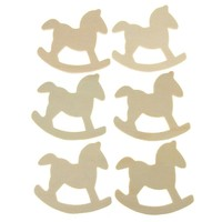 Rocking Horse Laser Cut Wooden Favors, Natural, 3-1/2-Inch, 6-Piece