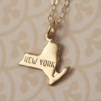Small New York State Charm Necklace, Miniature Brass Pendant, 14kt Delicate Filled Chain, Little, Simple, Mini Geography, Map, Land