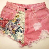 Colored Printed High Wasted Shorts by BohoChildGarments on Etsy