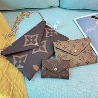 Louis Vuitton LV New classic printing printing men and women three-piece envelope envelope cosmetic bag