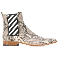 Leather Snakeskin Pattern Elastic Ankle Boot by OFF-WHITE