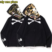 Autumn stitching camouflage men and women couple long sleeve coat hoodies