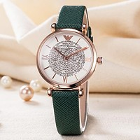 Emporio Armani New fashion diamond dial watch wristwatch women Green