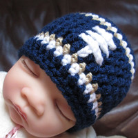 Crochet Baby Hat, Baby Football Hat, Crochet Beanie Hat in St. Louis Navy Gold and White- Baby Photos - Newborn and Baby Sizes Available