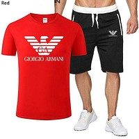Armani 2019 new wild short-sleeved sports suit two-piece Red