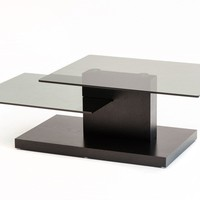 Modrest Dove Contemporary Black Oak and Glass Coffee Table