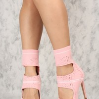 Sexy Blush Cut Out Open Toe Single Sole High Heels