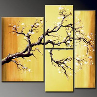 Warm Nature Oil Painting Landscape Tree Hand Asian Zen Painted Wall Art 4 Piece
