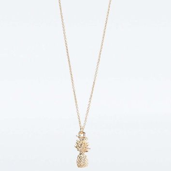 Golden Pineapple Charm Necklace - Urban Outfitters