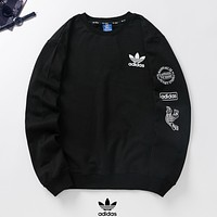Adidas Autumn And Winter Fashion New Letter Leaf Print Long Sleeve Sweater Top Black