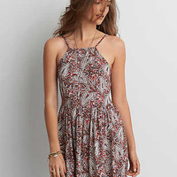 AEO Hi-Neck Fit & Flare Dress , Rust