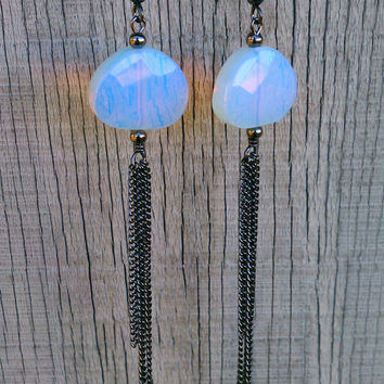 faceted opalite & chain tassel earrings // gunmetal toned rolo chain // long dangle earrings