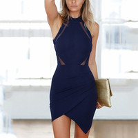 ♡ Sexy Back Hollow Out Wrap Front Bodycon Dress ♡