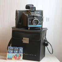 Vintage Polaroid Colorpack II Land Camera with case and flash Collectible home decor or set design piece