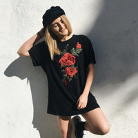 Short Sleeve Hot Sale Embroidery T-shirts [11735841807]