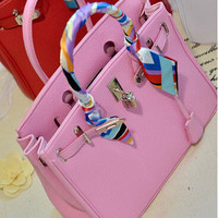 Top Handle with Scarf Leather Tote Bag