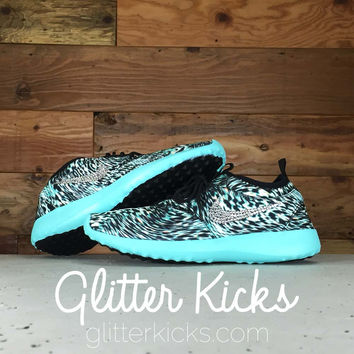 Women's Nike Juvenate Running Shoes By Glitter Kicks - Customized With Swarovski Crystal Rhinestones - White/Black Zebra Print/Tiffany Blue