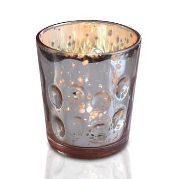 Vintage Mercury Glass Candle Holder (3-Inch, Tess Design, Rose Gold Pink) - for use with Tea Lights - for Home Décor, Parties and Wedding Decorations