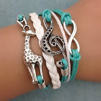 Hot Fashion Infinity Giraffe Music note Leather Charm Bracelet Plated silver NEW (Color: Multicolor) = 1932609540