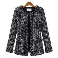 Casual Slim Thin Tweed Coat Plaid Jacket With Pocket For Women