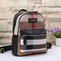 BURBERRY Women Shopping Leather Metal old plaid Backpack  black