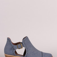 Qupid Perforated Denim Buckled Cutout Cowgirl Ankle Boots