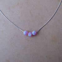 Opal necklace, 4mm opal ball necklace, opal gold necklace, opal jewelry, tiny dot necklace, opal bead necklace, dot necklace, pink opal