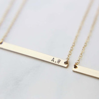 Monogram & Name Bar Necklace / Skinny Name Bar Necklace / Personalized Gift