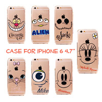 Cartoon Soft Case for Apple iphone 6 6s 4.7'' Mickey Minnie Mouse Marie Jack Alien Thin 0.3mm Clear case cover shell coque TPU