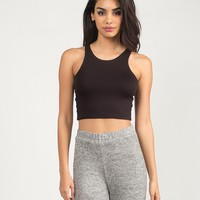Sporty and Simple Cropped Tank - Black - Large