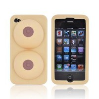 For Apple iPhone 4S 4 OEM Big Mouth Toys iBoobies Rubber Silicone Skin Case Cover & Stand BM1433