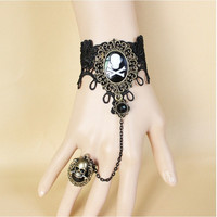 Gothic vintage black lace pirate skull and crossbones jewelry women's personality bracelets ring (Color: Black)