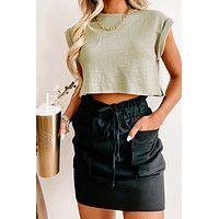 Bristol Textured Knit Cropped Top (Olive)